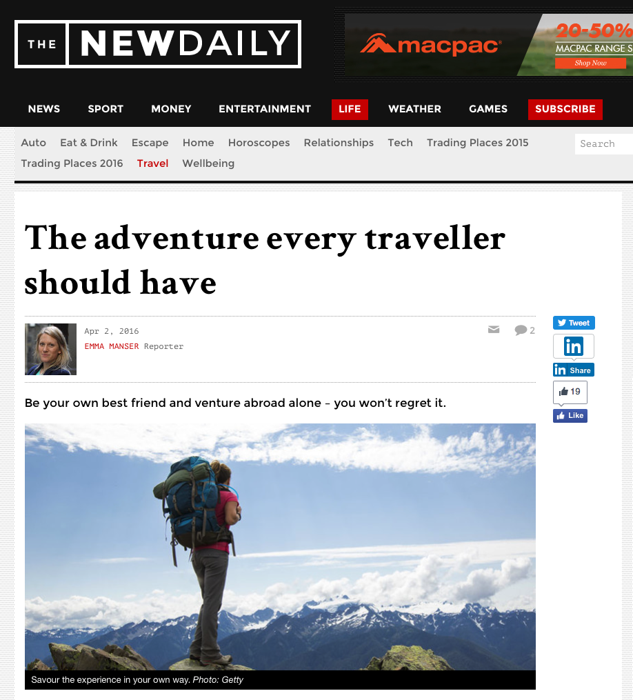 The Adventure every traveller should have