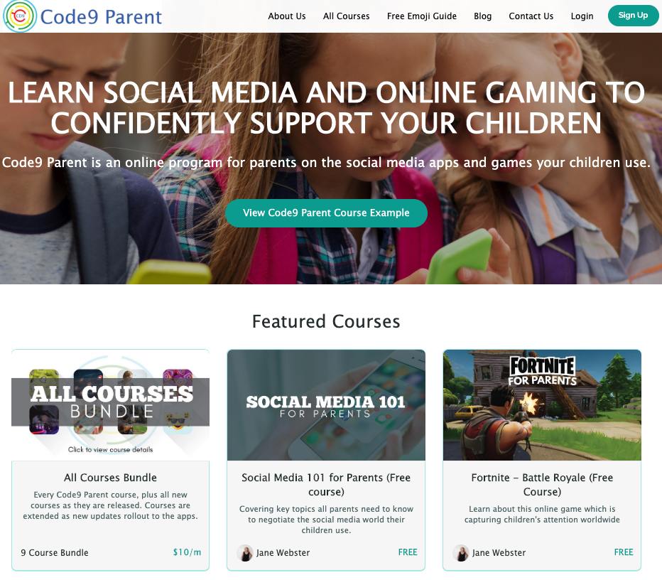 online courses code9 parent