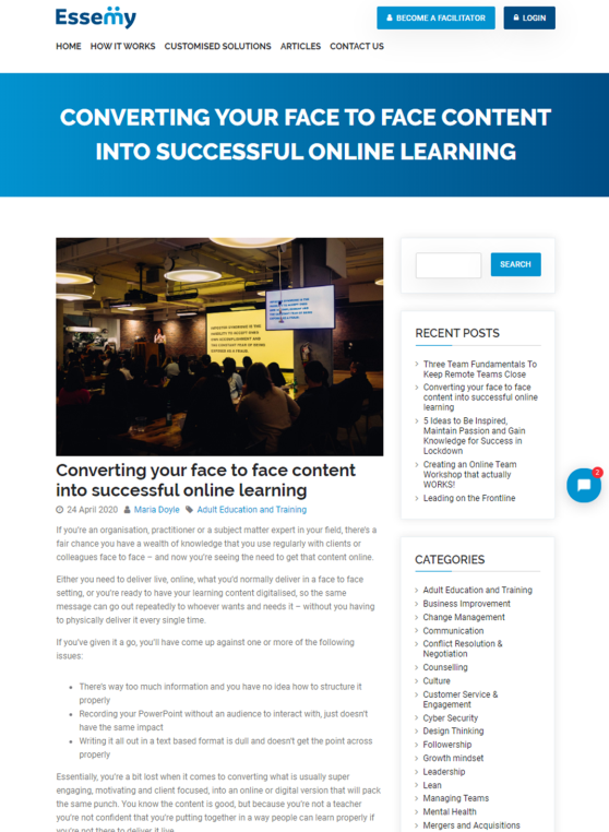 Essemy Article - Converting Face to Face Content to Successful Online Learning